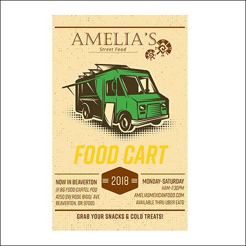 poster for amelia's food cart