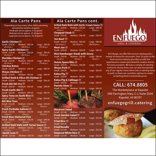 image of  en fuego catering menu front