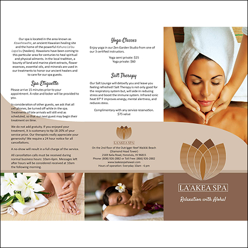 image of laakea spa brochure